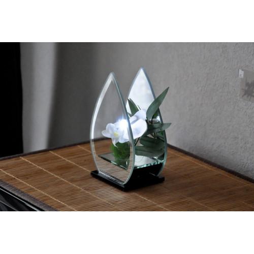déco en verre fleur orchidée