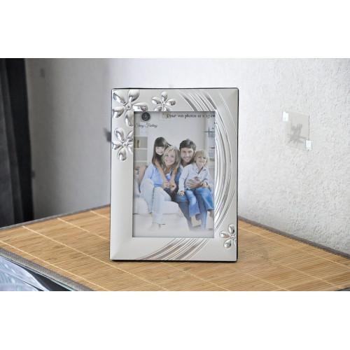 Cadre Photo Argenté avec fleurs reliefs