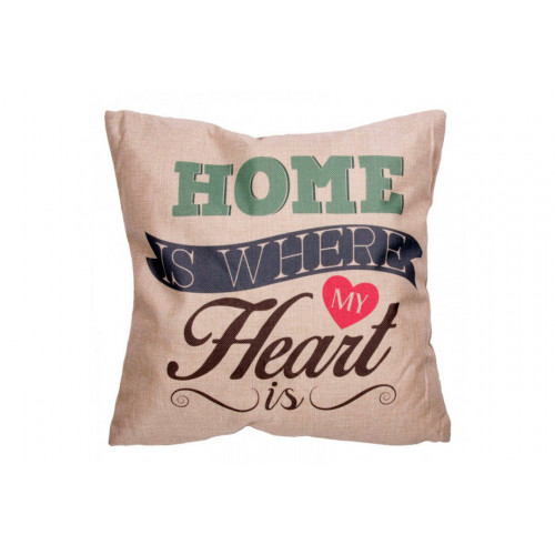 Coussin déco de la maison HOME IS WHERE MY HEART IS