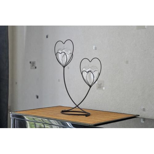 Soliflore double Coeur de Métal Double