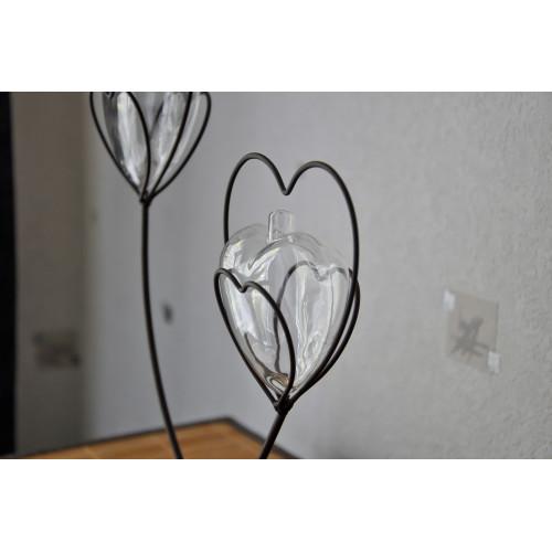 Vase Soliflore duo Coeur de Métal Double