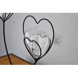 Vase Soliflore Coeur de Métal Double