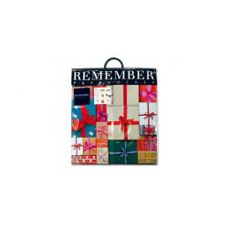 tabouret en carton pliable avec des motifs emballage cadeau REMEMBER