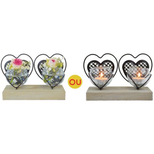 Vase double coeur Tendresse