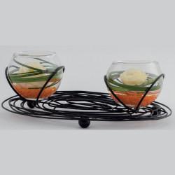 soliflore boule duo et bougeoir duo métal et verre