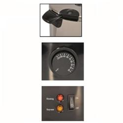 Stérilisateur 12 L.inox avec thermostat réglable et robinet de vidange, poignée thermo isolante