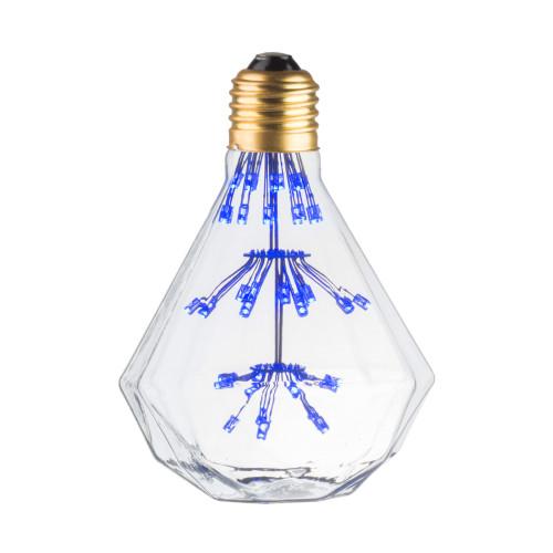 LAMPE DECO DIAMANT E27 BLEU ALLUMEE