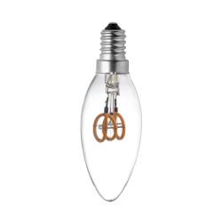 LAMPE C35 E14 LED FILAMENT SPIRALE 3W SOFT VERRE CLAIRE ETEINTE