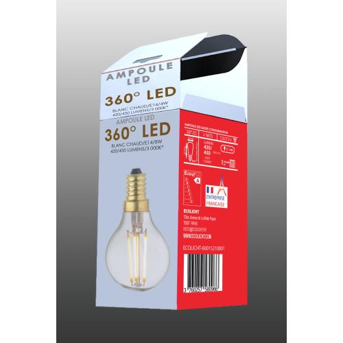 Ampoule Lampe C45 E14 filament droit classique- boite