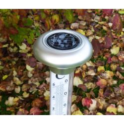 thermomètre de jardin solaire led